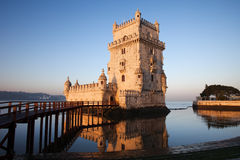 Morning at Belem Tower in Lisbon. Belem Tower on the Tagus river in the morning, famous city landmark in Lisbon, Portugal Stock Photo