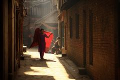 Morning Bhaktapur Street in Nepal. Asia Travel Stock Image