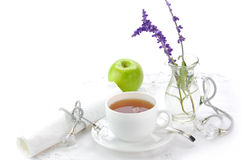 Morning black tea. On the white cup Royalty Free Stock Photo