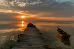 Morning bliss at sunrise. August morning at the lake Royalty Free Stock Photo