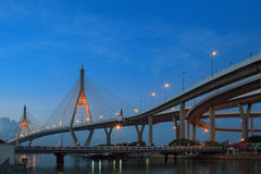 Morning blue light sky and bhumibol II bridge crossing chaopraya Royalty Free Stock Images
