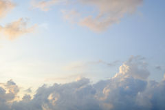 Morning Blue Sky with Cloud and Soft Sunlight Royalty Free Stock Photo