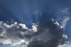 Morning blue sky with clouds and natural sun Stock Photo