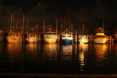 Morning Boat Port. Row of boats just befor Sunrise Stock Images