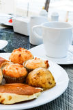 Morning bread with coffee. On the table Royalty Free Stock Photography