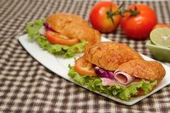 morning breafast ,croissant ham  sandwich Stock Image