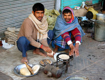 Morning breakfast. Preparing morning chapati in Old Delhi street (India Stock Images