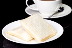 Morning breakfast 2 bread. Picture of Morning breakfast 2 bread Royalty Free Stock Images