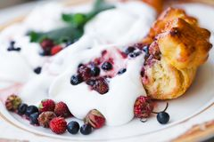Morning breakfast. Healthy breakfast yogurt with fruit Stock Photo