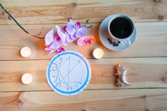 Morning Breakfast astrologer. Coffee Cup Orchid Breakfast of the astrologer`s prediction royalty free stock photo
