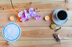 Morning Breakfast astrologer. Coffee Cup Orchid Breakfast of the astrologer`s prediction royalty free stock photos