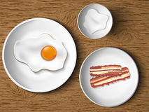 Morning breakfast. bacon and eggs Stock Photo