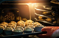 Morning breakfast Banana cake in hot oven that have good taste a Royalty Free Stock Photography