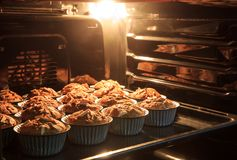 Morning breakfast Banana cake in hot oven that have good taste a. Nd fresh. bread banana cup cake Stock Images