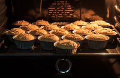 Morning breakfast Banana cake in hot oven that have good taste a. Nd fresh. bread banana cup cake Royalty Free Stock Photos