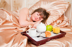 Morning breakfast in bed Stock Photography