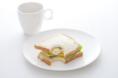 Morning breakfast with a bite imprint Stock Photography