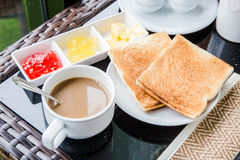 Morning breakfast. Bread coffee morning Royalty Free Stock Photo