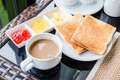 Morning breakfast. Bread coffee morning Royalty Free Stock Photography