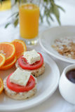 Morning breakfast with brochette and orange juice royalty free stock photos