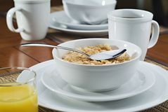 Morning breakfast cereal and coffee. Morning breakfast with cereal coffee and juice stock photo