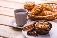 Morning breakfast. coffee and fresh pastries Royalty Free Stock Photos