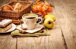 Morning breakfast with coffee and fruits royalty free stock photo