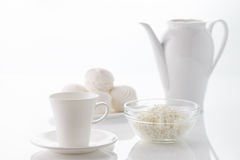 Morning breakfast with dairy products and coffee Royalty Free Stock Image
