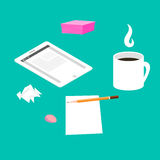 Morning breakfast day planning. Tablet pc on table and cup of coffee. Royalty Free Stock Images
