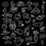 Morning breakfast doodle on black. Chalk board style. sketch Stock Image