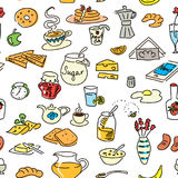 Morning breakfast doodle. colored sketch. seamless pattern set Stock Photography