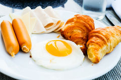 Morning breakfast with egg and chick smoke ham. Morning breakfast with star egg and chick smoke ham Stock Photos
