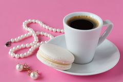 Morning breakfast for her French macaroon and coffee Royalty Free Stock Photos