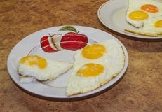 Morning breakfast at home.3. Fried eggs on a plate cooked in the morning at home stock images