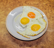 Morning breakfast at home. Fried eggs on a plate cooked in the morning at home stock photos