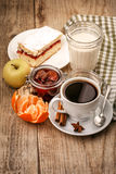 Morning breakfast with hot coffee and joghurt royalty free stock images