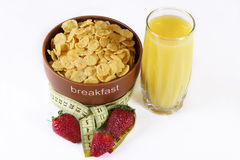 The low-calorie morning breakfast on an isolated. Low-calorie the morning breakfast on an isolated Stock Images