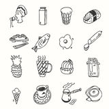 Morning breakfast lunch or dinner kitchen doodle Royalty Free Stock Images