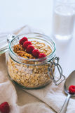 Morning breakfast, oatmeal with red raspberries and walnuts Stock Photography