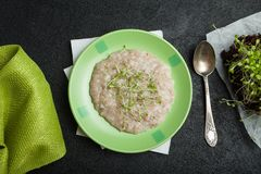 Morning breakfast, organic oatmeal with micro greens on a black background. A towel, a vintage spoon and young salad sprouts stock images