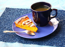 Morning breakfast with pumpkin pie Royalty Free Stock Images