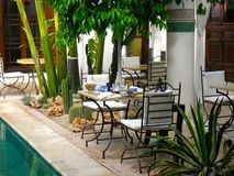 Morning breakfast at the riad. At the edge of the pool and in the shade of palm trees Royalty Free Stock Photo