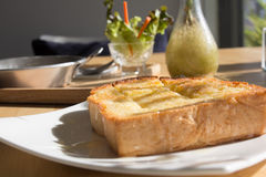 Morning Breakfast Set or coffee break time, toast bread topping Royalty Free Stock Image