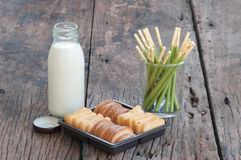 Morning with breakfast,soy milk biscuit and bread on the table Royalty Free Stock Photos