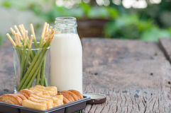 Morning with breakfast,soy milk biscuit and bread on the table.  Stock Images
