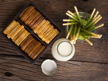 Morning with breakfast,soy milk biscuit and bread on the table t. Opview Stock Images