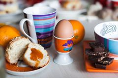 Morning breakfast stand for eggs Royalty Free Stock Photo