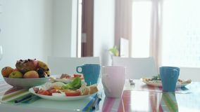 Morning breakfast table with plate of fruit royalty free stock photo