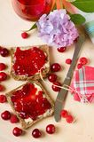 Morning breakfast with toast and fruit marmalade Stock Photo