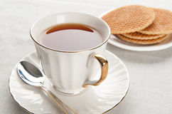 Morning breakfast with waffles Royalty Free Stock Photo